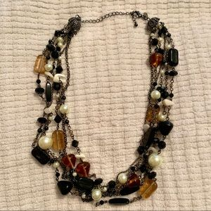 Six Strand, Black Mother of Peal Bead Necklace